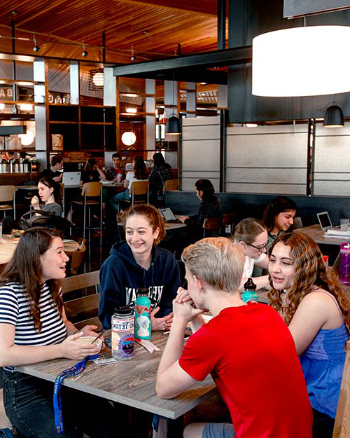 Students eat lunch in Cleveland Commons Dining Hall.