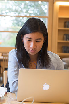A student on a laptop