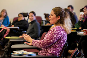 Whitman College student Jessica Boyers discuss a subject with her peers