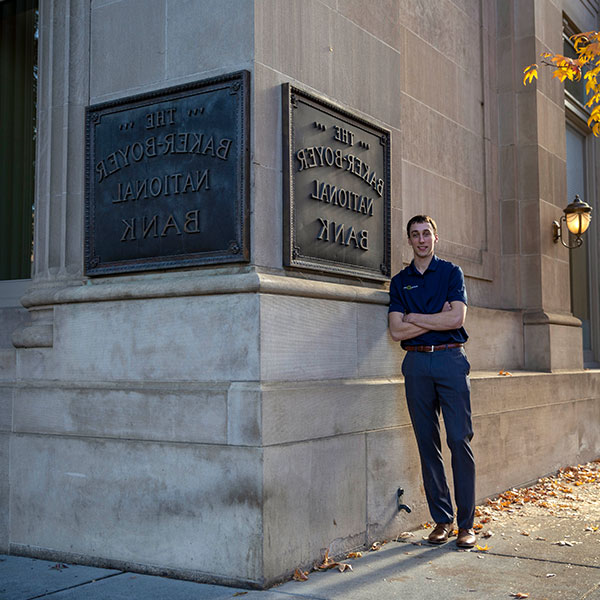 Sam Geschickter in front of the Boyer Bank